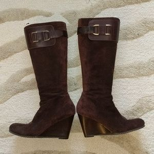 Aerosoles Genuine Brown suede wedge tall boots